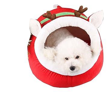 Amazon.com: leowow Pet Navidad renos Casa Mascota Perro Gato ...
