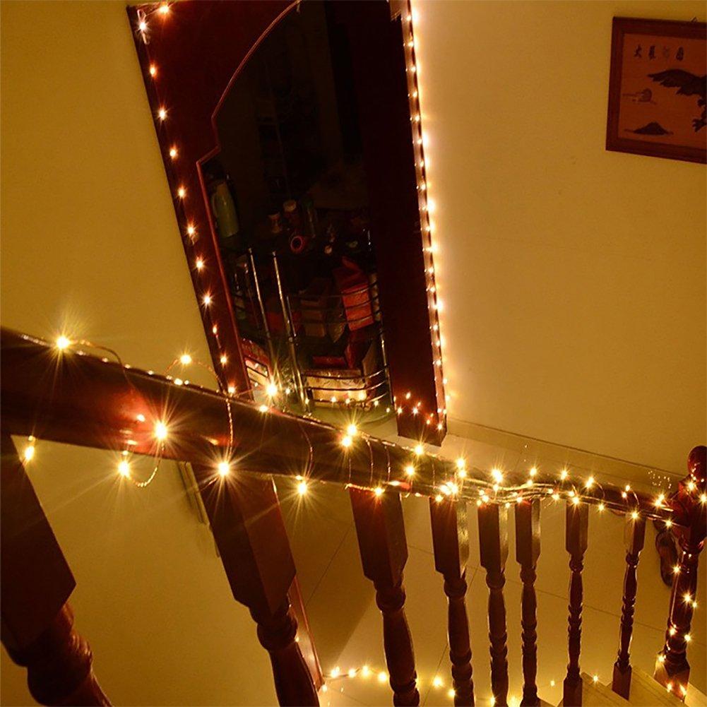 Guirnalda luces pilas,decoracion con luces navideñas,10M 100LED Luces de Cadena interior/exterior Decoración para Navidad,Fiestas,Bodas,Patio,Dormitorio Jardines,Fest