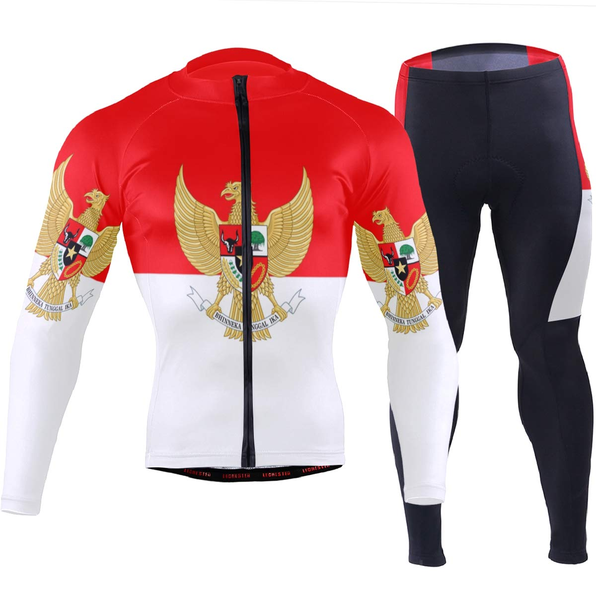 Men's Cycling Jersey Long Sleeve with 3 Rear Pockets Suit Indonesia Flag National Emblem by CHINEIN