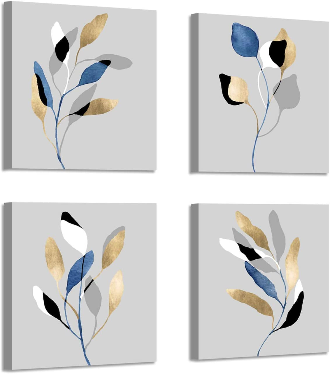 Botanical Leaf Prints Wall Art: Branch with Golden Leaves Pictures Paintings on Canvas Artwork for Dinning Room (12'' X 12'' x 4 Panels)