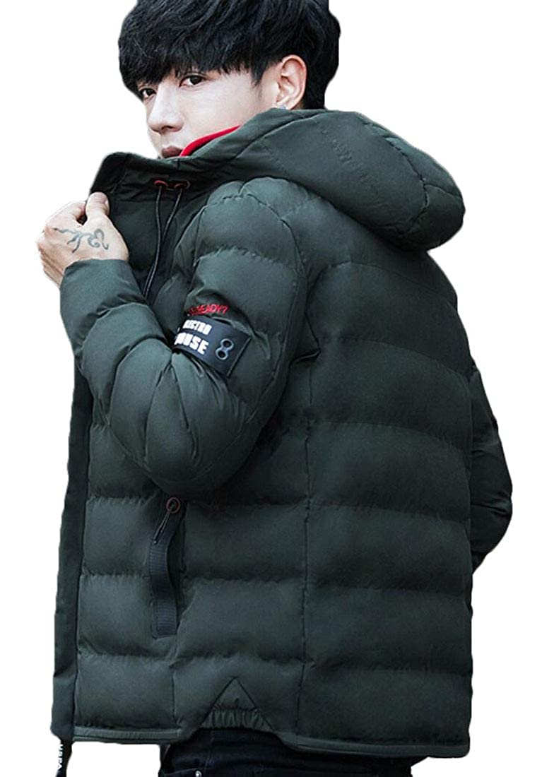 Qiangjinjiu Mens Winter Jacket Thicken Hooded Quilted Outdoor Coat