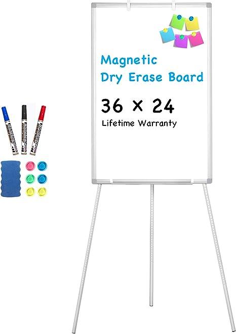 Amazon.com: Pizarra blanca con caballete magnético, portátil ...