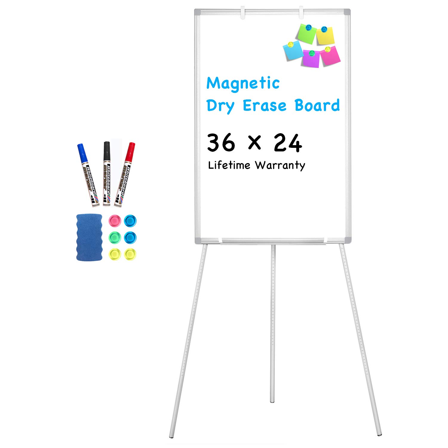 Easel Whiteboard - Magnetic Portable Dry Erase Easel Board 36 x 24 Tripod Whiteboard Height Adjustable Flipchart Easel Stand White Board for Office or Teaching at Home & Classroom