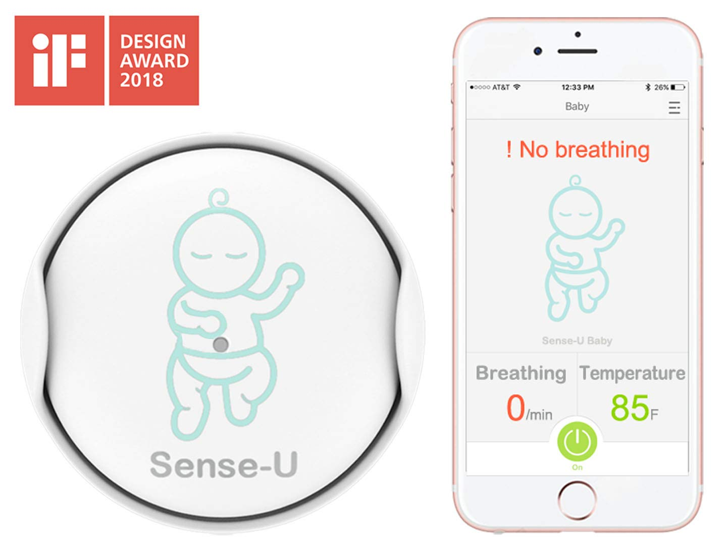 Sense-U Baby Breathing & Rollover Movement Monitor: Alerts You for No Breathing, Stomach Sleeping, Overheat and Getting Cold with Audible Alarm from Your Smartphone SU-201U