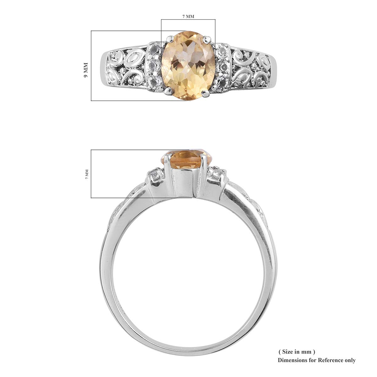 Shop LC Delivering Joy Solitaire Ring Stainless Steel Citrine White Topaz Gift Jewelry for Women Size 5 Cttw 1.6