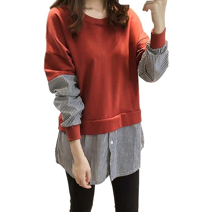 PANY Otoño Invierno Mujer,2018 Mujeres Camisa a Rayas de Manga Larga Blusa de Empalme