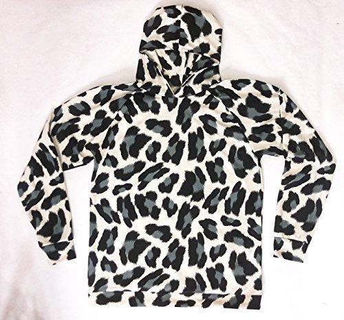 Leopard Print Hoodie Sweatshirt (Black White Cow Print)
