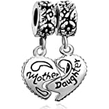 Uniqueen Mother Daughter Son Heart Love Charms Dangle Bead Set For Pandora/Troll/Chamilia Charm Bracelet