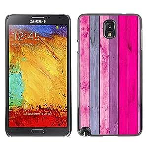 //MECELL CITY PRESENT//SmartPhone Carcasa rígida Carcasa de plástico PC Carcasa fresco imagen para Samsung Note 3N9000///Diseño de pared de madera rosa y morado decoración///