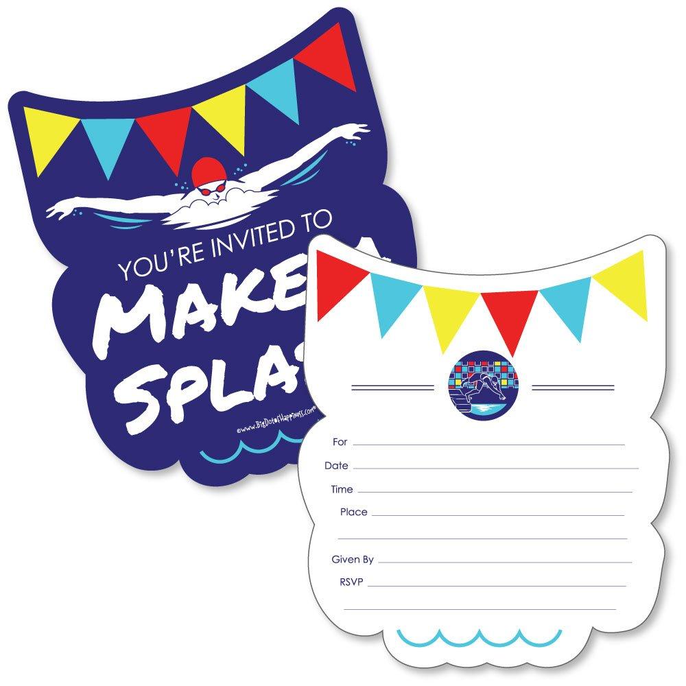Amazon Com Making Waves Swim Team Shaped Fill In Invitations