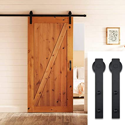 PBD001 FBA_SDHA023BK Sliding Barn Door Hardware Set Black 6.6 FT Antique