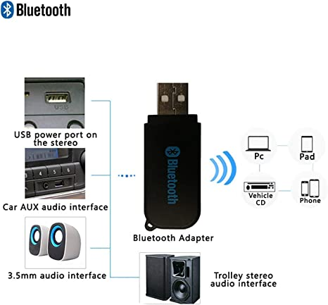 Black JX2 USB Bluetooth Receiver 4.2 USB Bluetooth Adapter for Car//PC USB Bluetooth Audio Receiver Home Music Stereo- Bluetooth Dongle with AUX-in 3.5 mm
