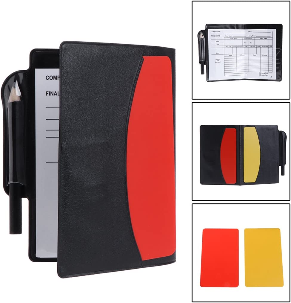 Qiuxiaoaa New Sport Football Soccer Referee Wallet Notebook with Red Card and Yellow Card Football supplies Black