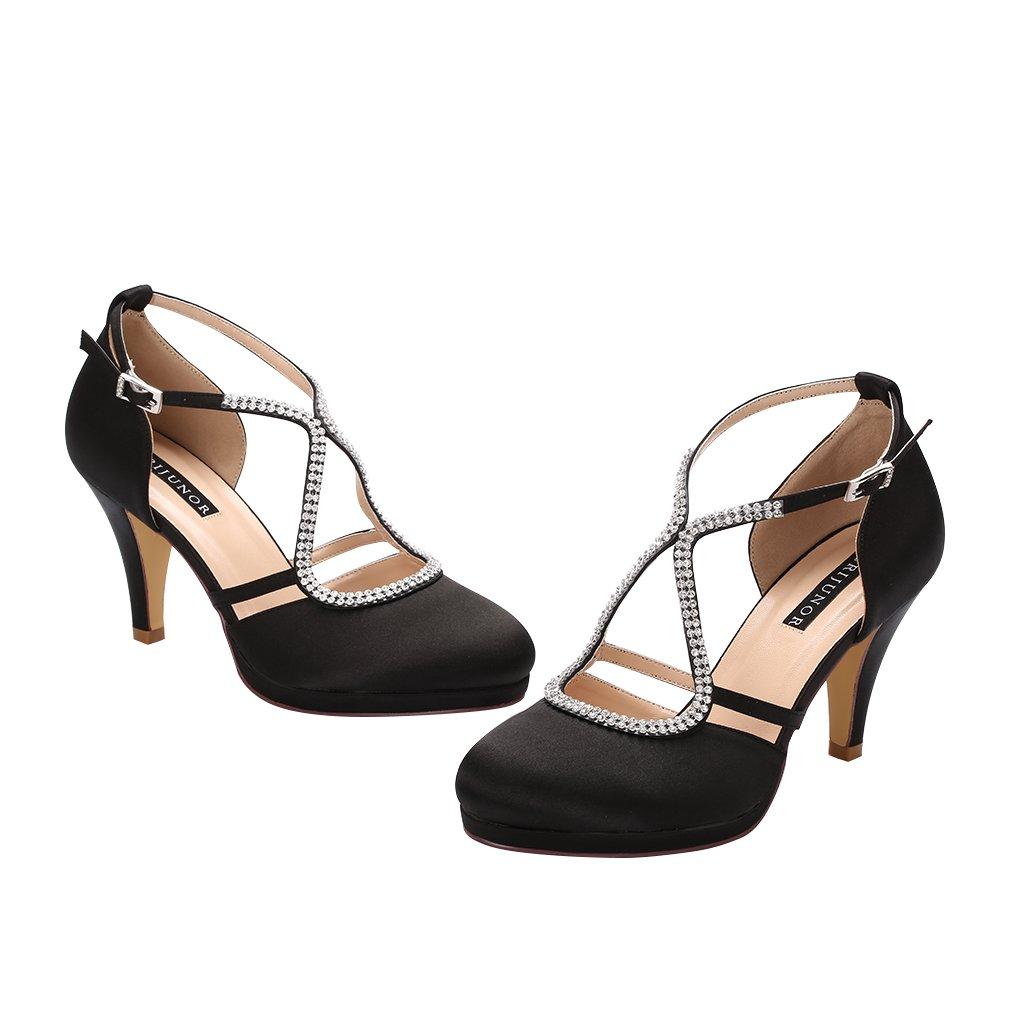 ERIJUNOR E0260D Women Comfort Low Heel Closed-Toe Ankle Strap Platform Satin Bridal Wedding Shoes Black Size 7 by ERIJUNOR (Image #5)