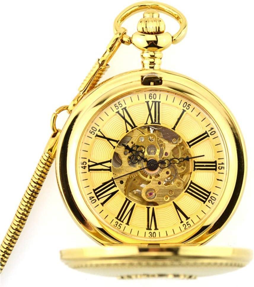 ACZZ Reloj de bolsillo para hombre, con tapa de la vendimia Cobre puro Tallado Punto 18 Movimiento automático Como día del padre Aniversario Navidad 520 Día de San Valentín,A