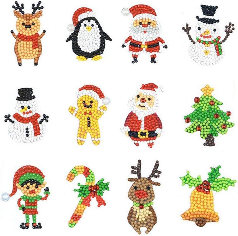 eZAKKA 12Pcs Christmas 5D DIY Diamond Painting Kits Sticker Painting by Numbers Full Round Drill Art Craft