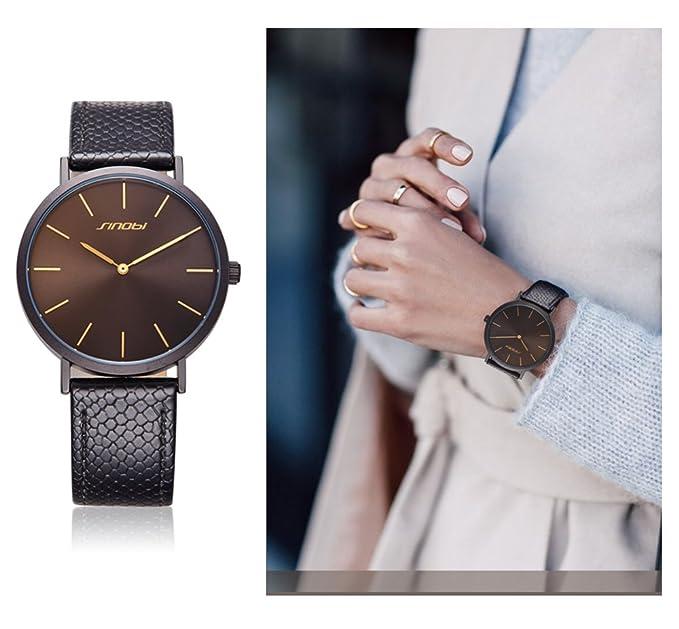 Sinobi Fashion mujer reloj de pulsera de cuero de la pulsera simple decente Casual Ginebra reloj