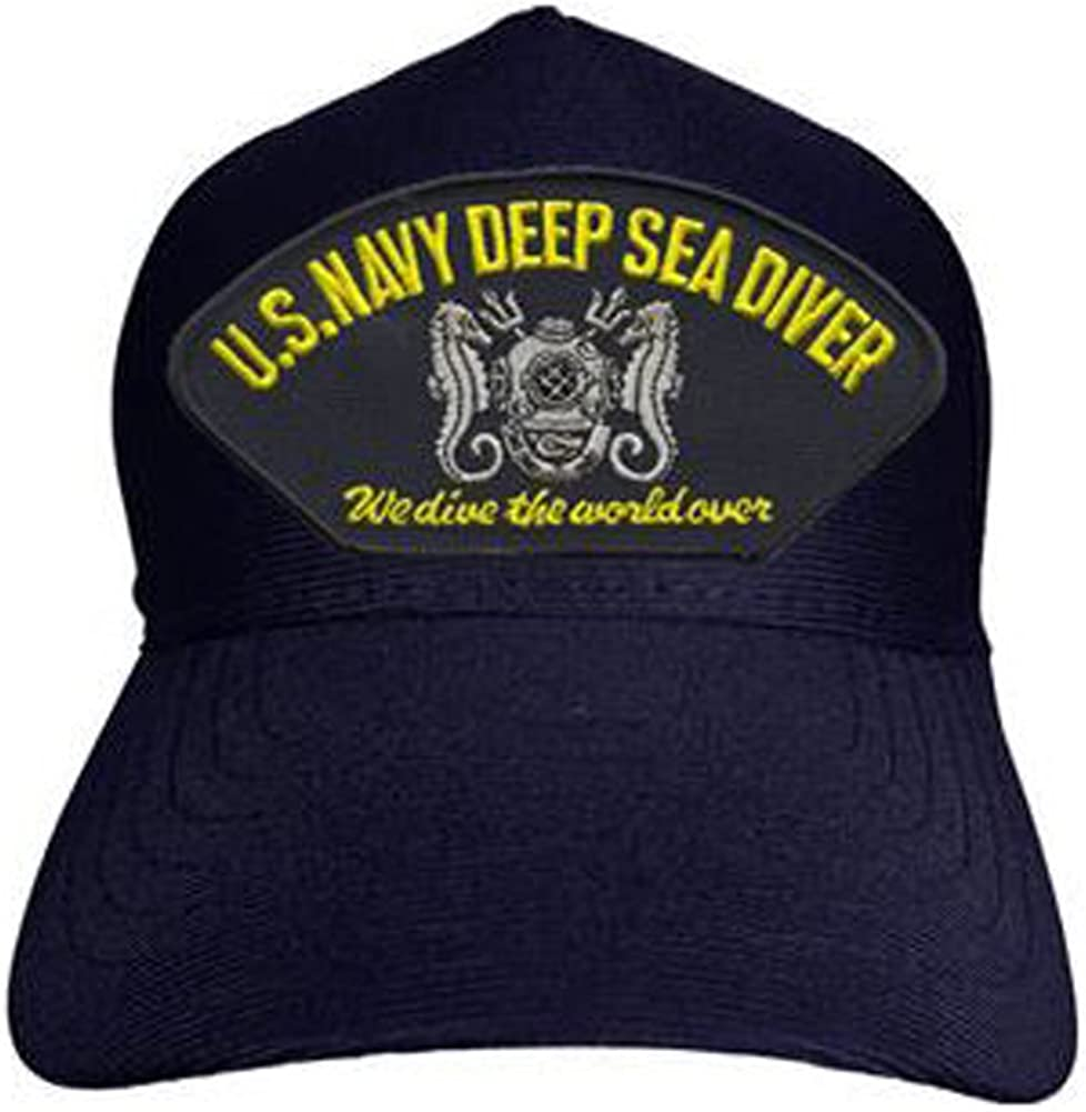 Navy Deep Sea Diver We Dive The World Over Baseball Cap Made in USA U.S Navy Blue