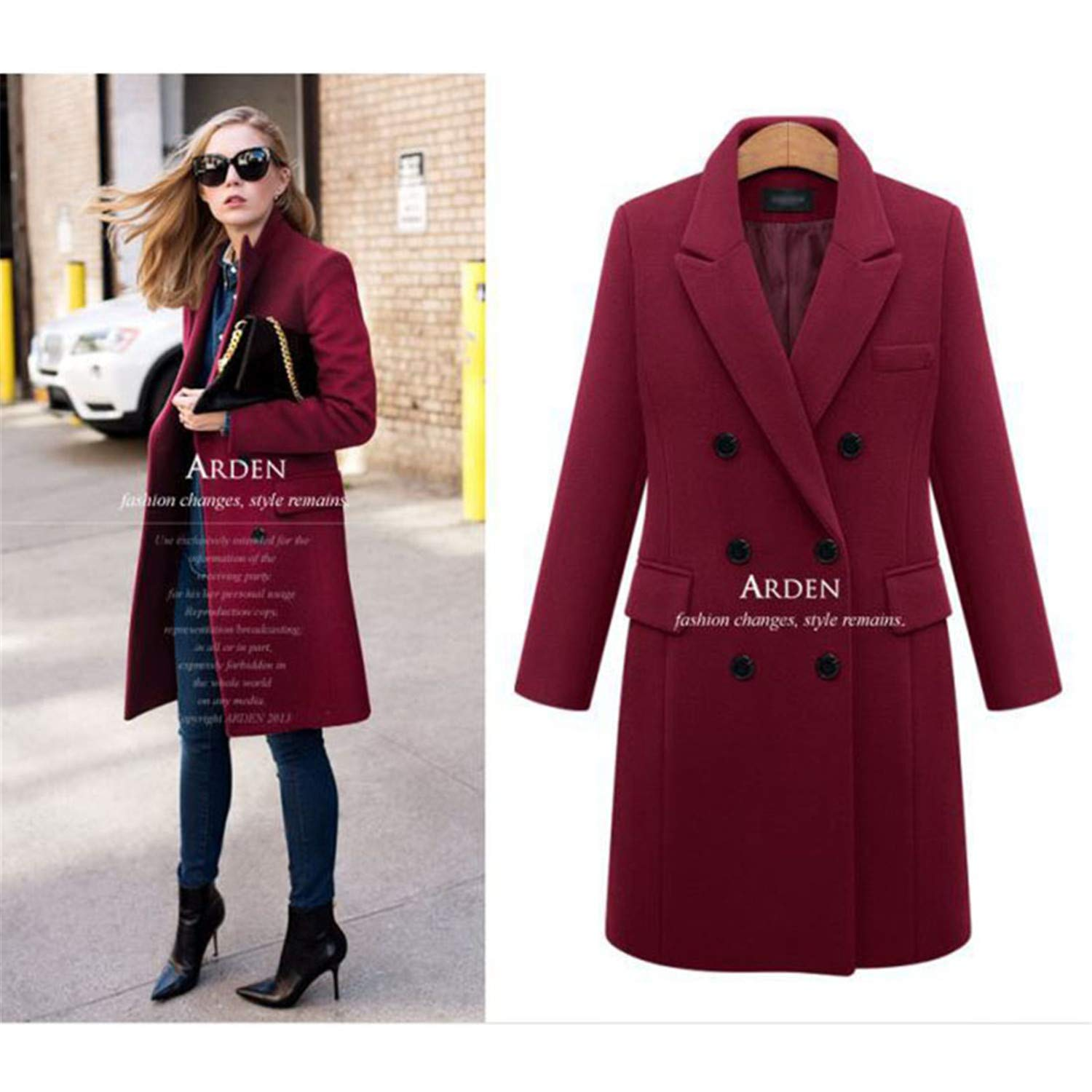 Burgundy Perfectme Outerwear Coat Women Casual Wool Solid Jackets Blazers Double Breasted Long Coat Ladies Plus Size 5XL