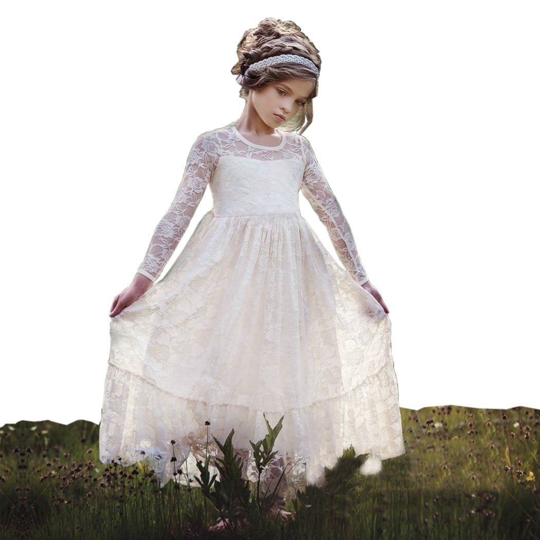 belababy Flower Girl Dresses Ivory Lace in Beach Wedding Toddler Size 6t