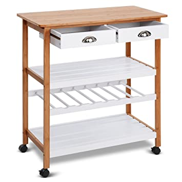 Amazon Com Rolling Bamboo Top Kitchen Cart Storage Island