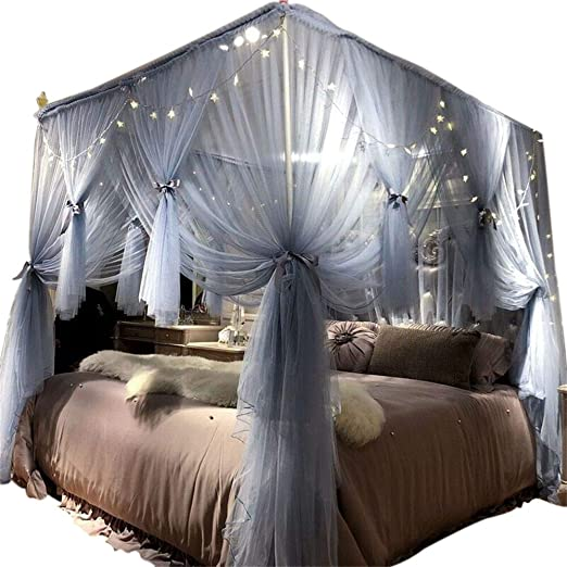 Amazon Com Joyreap 4 Corners Post Canopy Bed Curtain For Girls Adults Royal Luxurious Cozy Drape Netting 4 Opening Mosquito Net Cute Princess Bedroom Decoration Gray Blue 59 W X