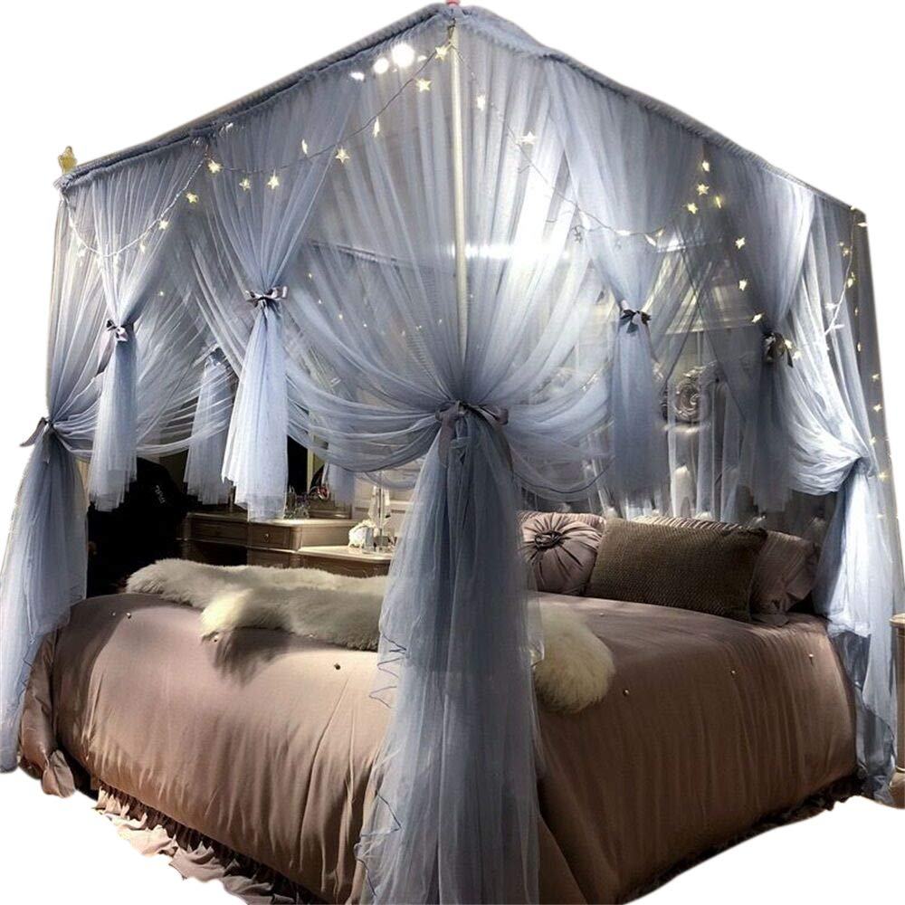 Joyreap 4 Corners Post Canopy Bed Curtain for Girls & Adults - Royal Luxurious Cozy Drape Netting - 3 Opening Mosquito Net - Cute Princess Bedroom Decoration (Gray-Blue, 59'' W x 78'' L, Full/Queen) by Joyreap