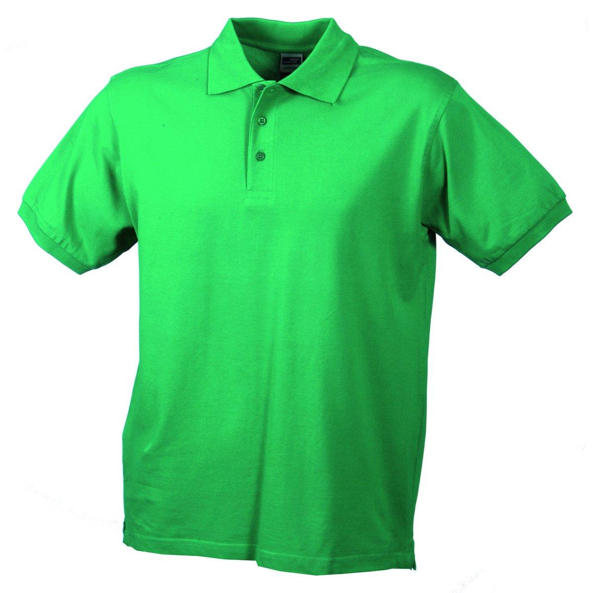 James /& Nicholson Mens Plain Button Down Short Sleeve Polo Shirt