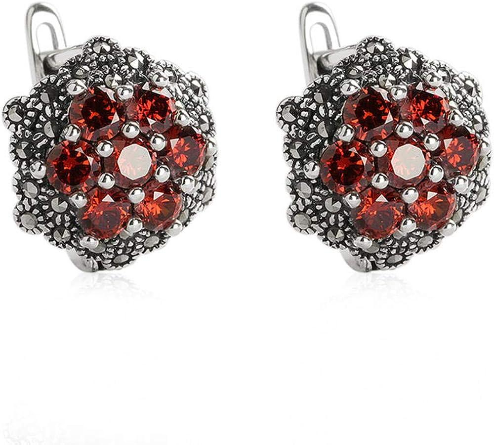 S925 Pendientes de botón de plata de ley Diamantes de moda de granate natural de ónix negro Pendientes de plata tailandeses