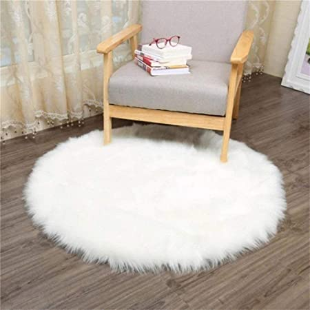 KAIHONG Faux Fur Sheepskin Style Rug (60 x 60 cm) Faux Fleece Chair Cover Seat Pad Soft Fluffy Shaggy Area Rugs For Bedroom Sofa Floor (Round White,