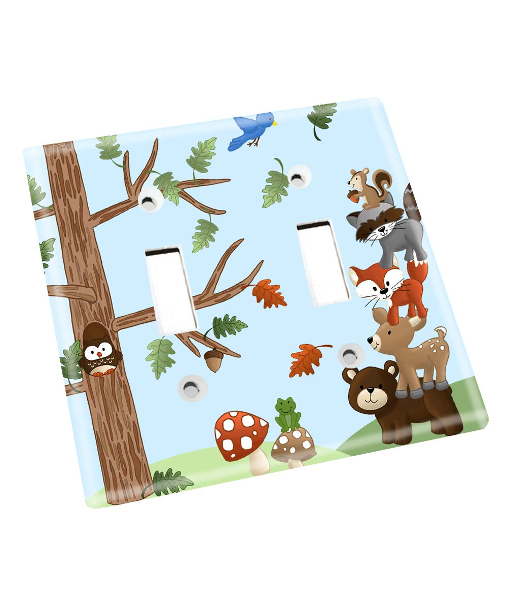 Forest Animal Woodland Friends Stacked Forest Critters Boys Bedroom Baby Nursery Single Light Switch Cover LS0021 (Double Standard) by Toad and Lily