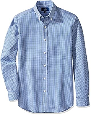 Buttoned Down Men's Fitted Button-Collar Pattern Non-Iron Dress Shirt