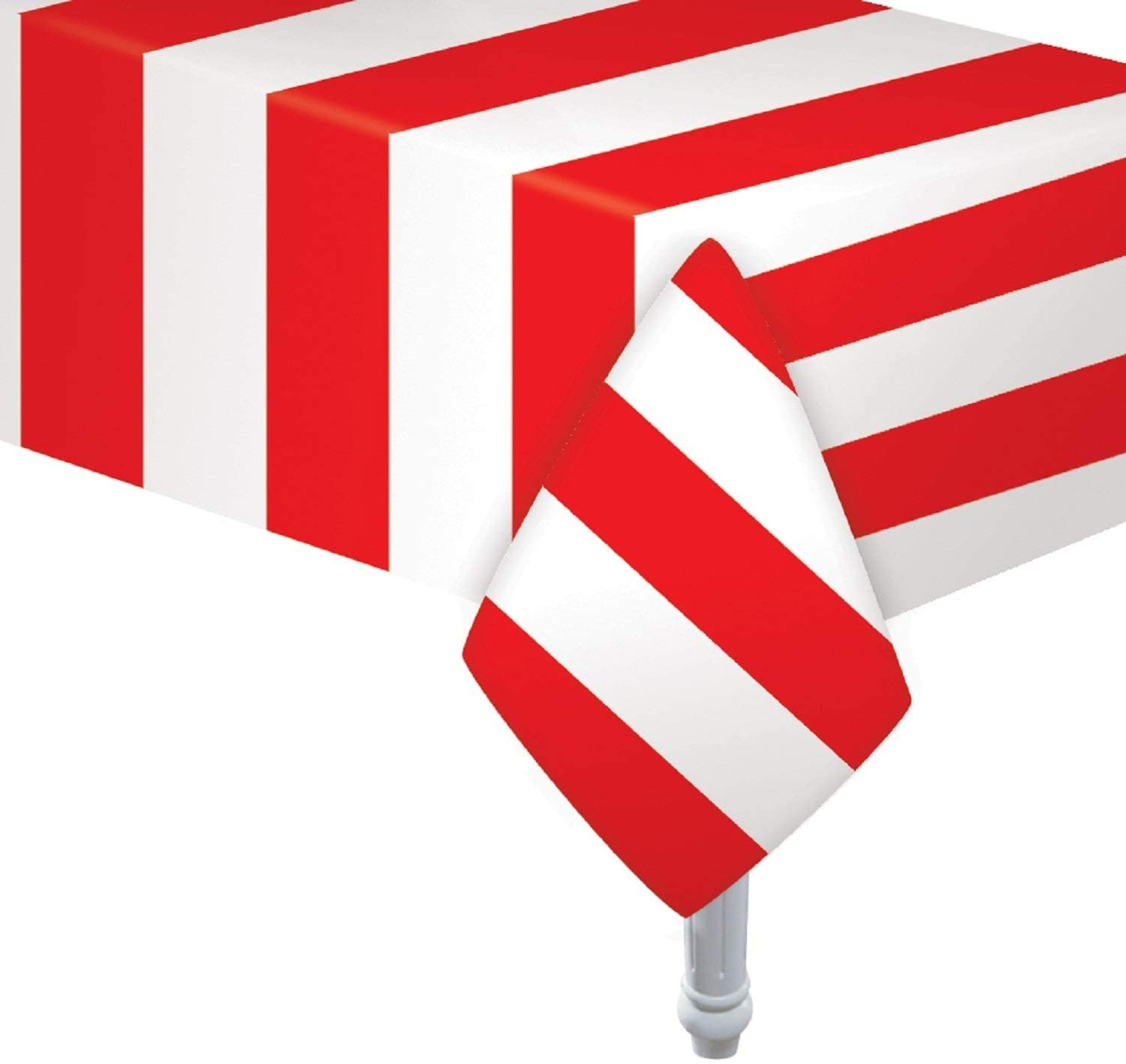 Oojami Red & White Stripes Carnival Theme Party Tablecover Pack of 6