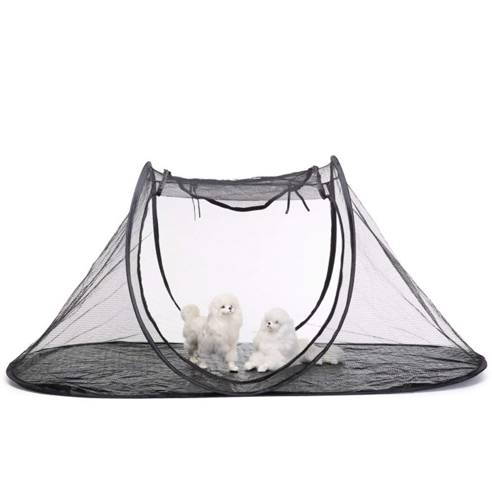 Collapsible Pet Tent House Outdoor Pet Enclosure for Cats & Dogs Portable, View, Pop Up Lounger Tent for Deck, Porch, Balcony & Rv Travel with Storage Pouch