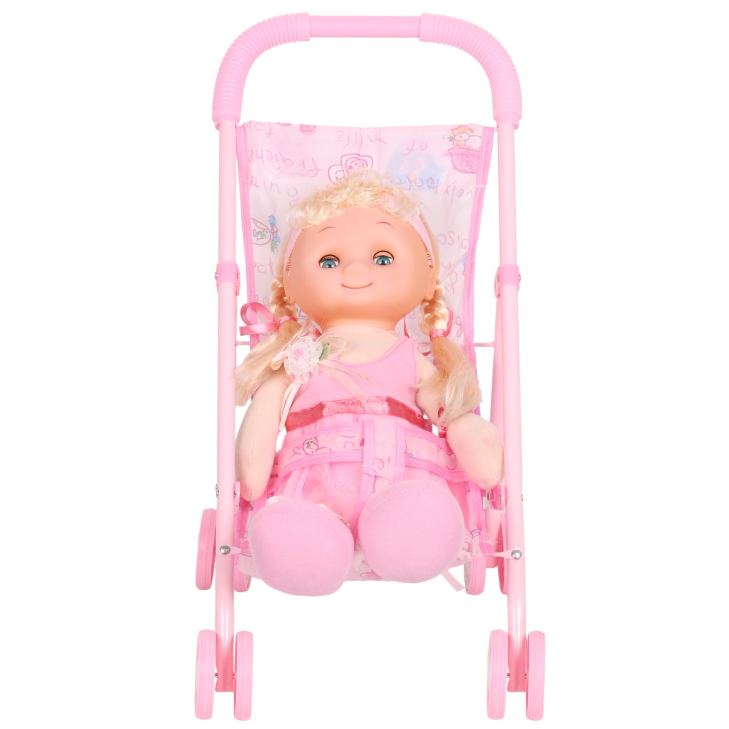HSTOY Doll Stroller Baby Carriage Irony Pink Foldable with 4 Wheels