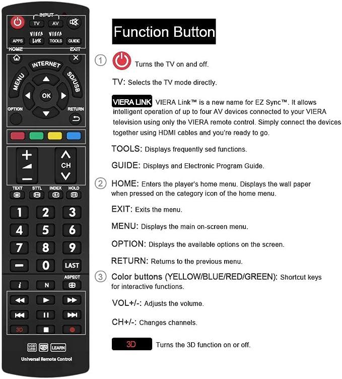 Mando a Distancia Universal para Panasonic TV N2QAYB000487 N2QAYB000490 N2QAYB000353 N2QAYB000048 Compatible con Todos los Modelos remotos.: Amazon.es: Electrónica