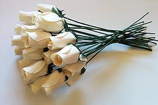 24Beautiful realistico avorio in legno bianco Roses by Aariel da soffitta
