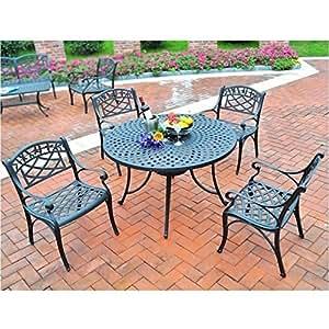 Bowery Hill 5piezas Metal patio Juego de mesa y sillas de comedor en color negro