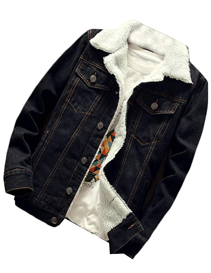 Lutratocro Mens Thicken Sherpa Lined Washed Denim Jacket Jean Parka Coat Outwear