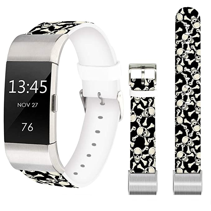 Skulls Bands for Fitbit Charge 3 SE,Jolook Replacement Leather Woman Man  Bands Straps for Fitbit Charge 3/Charge 3 SE - Baby White Skulls and