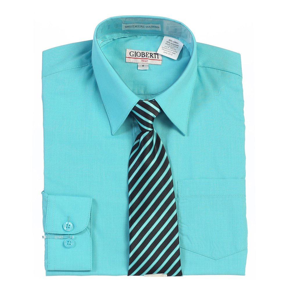 Amazon Big Boys Mint Button Up Dress Shirt Striped Tie Set 8 18