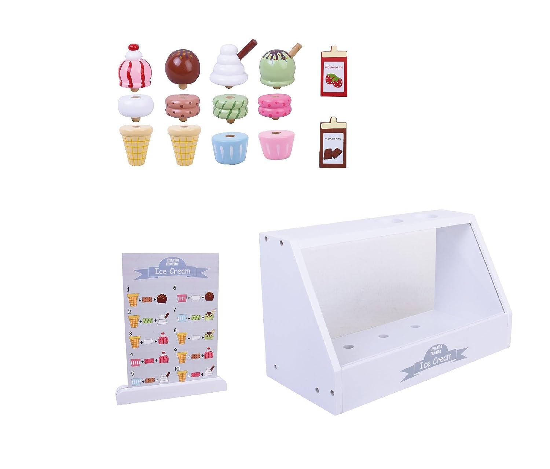 Madera Ice Cream Helader/ía Mostrador Medidas: 28 x 13 x 16 cm Accesorios incluidos