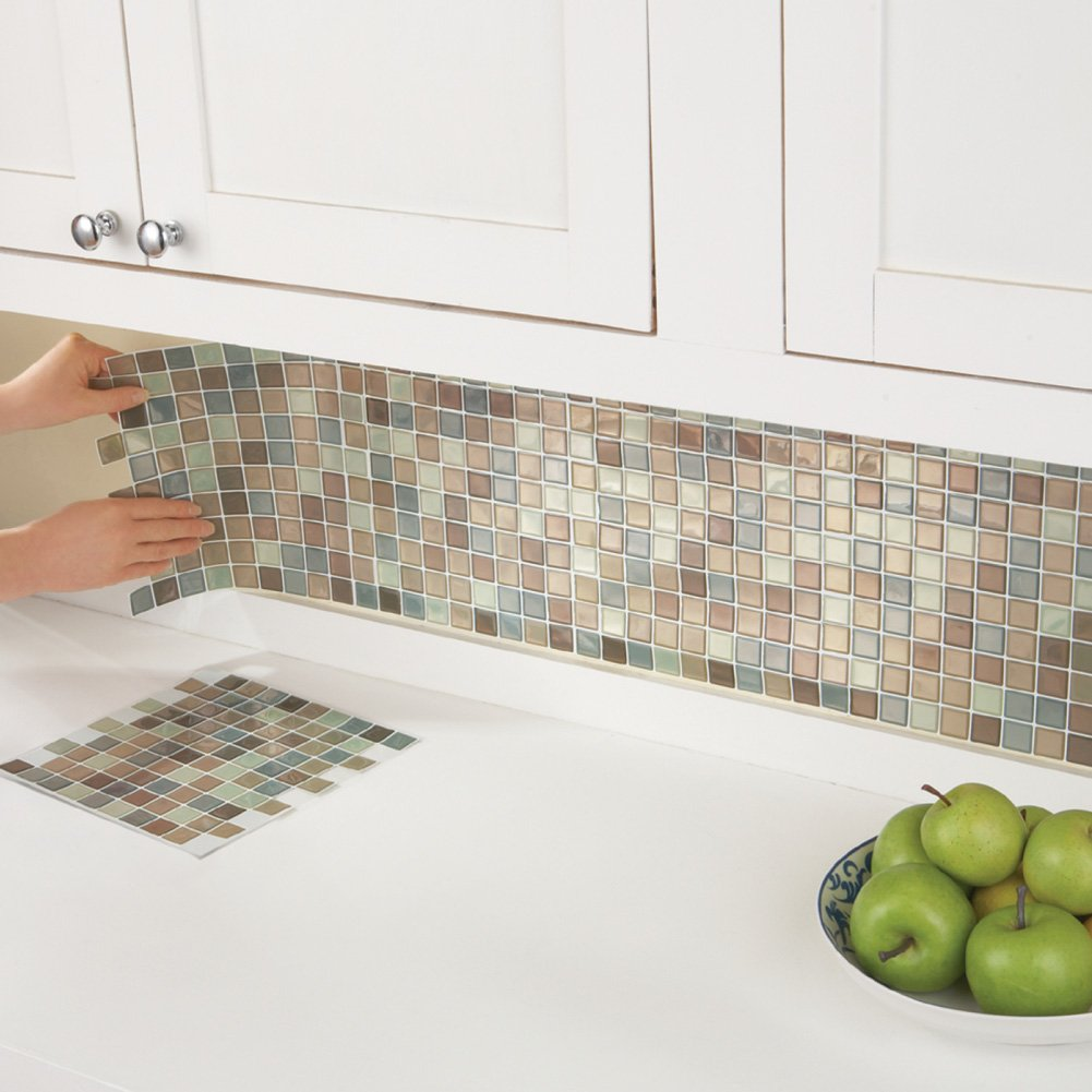 Collections Etc Multi-Colored Adhesive Mosaic Backsplash Tiles for Kitchen and Bathroom - Set of 6, Brown Multi by Collections Etc (Image #4)