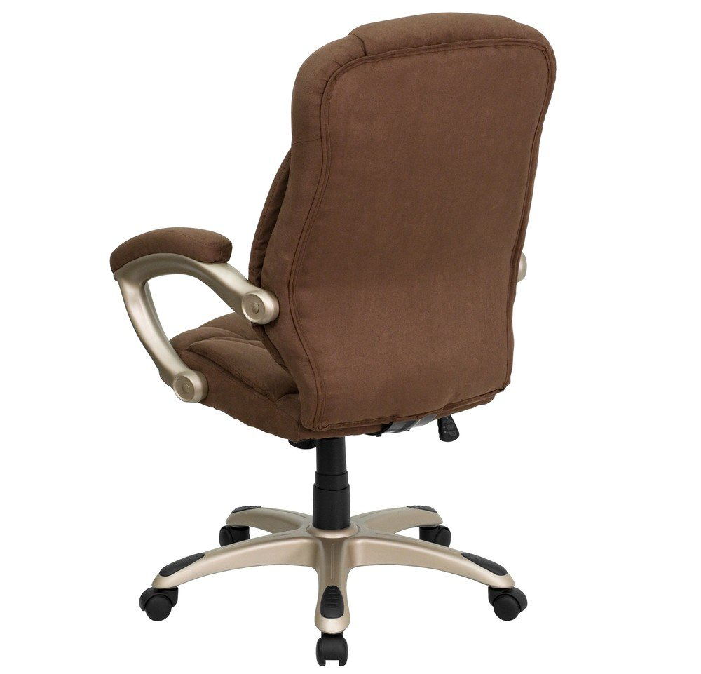 Amazon.com: Flash Furniture High Back Brown Microfiber Contemporary  Executive Swivel Chair With Arms: Kitchen U0026 Dining