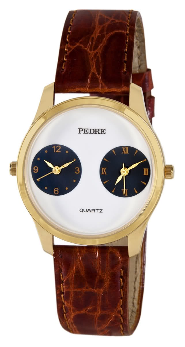 Pedre Unisex Gold-Tone Dual-Time Leather Strap Travel Watch # 0281GX