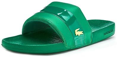 e7856ebc3 Lacoste Fraisier 118 U Slide Pool Beach Sandals in Green   Gold Deluxe  735CAM0128 GG4