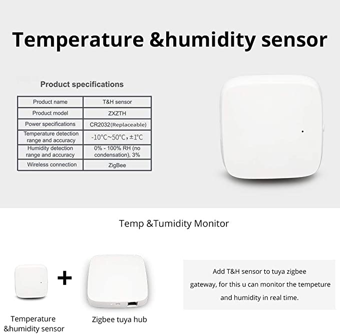 Compatible avec Alexa capteur de temp/érature et dhumidit/é N/écessite un HUB Si intelligent Google Home Zigbee avec /écran LCD qui fonctionne avec batterie AAA