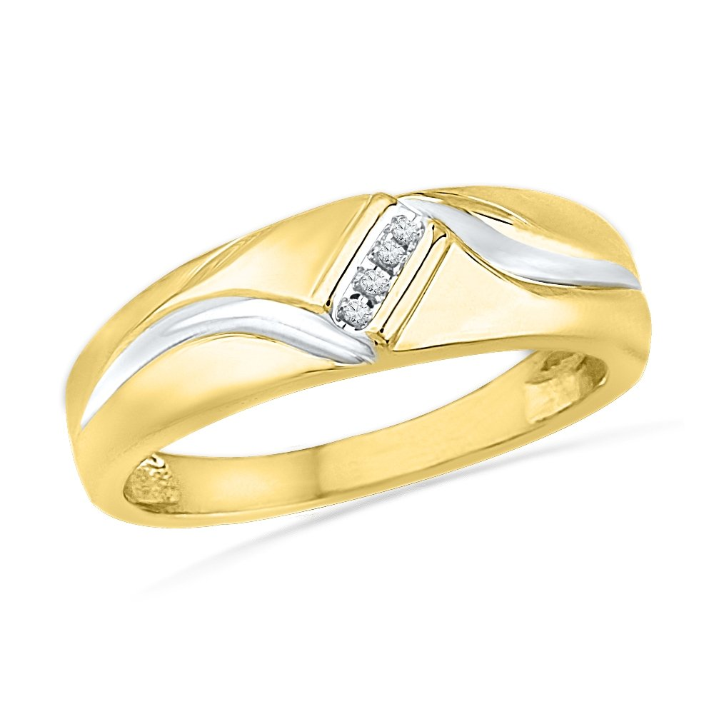 10KT Yellow Gold Round Diamond Men's Ring (0.04 cttw) by D-GOLD
