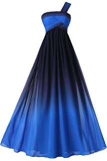 Sunvary Womens Colorful Gradient Prom Gown Long Sleeveless Chiffon Bridesmaid Formal Dresses