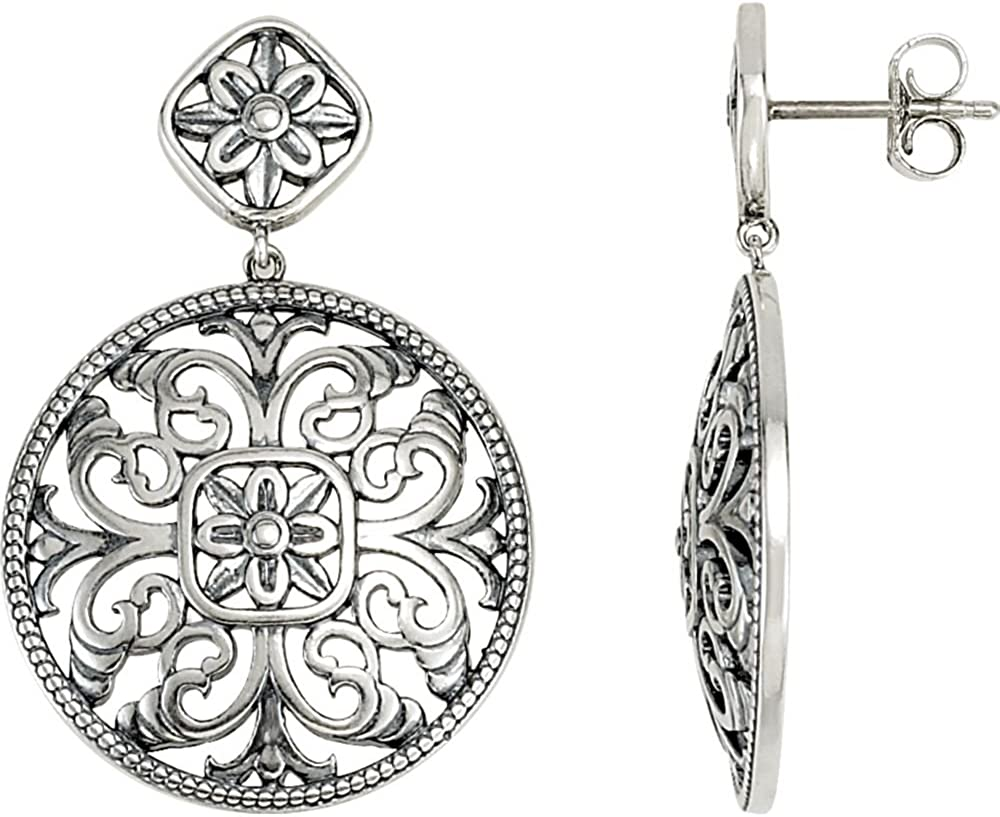 FB Jewels 925 925 Sterling Silver and 14K White Filigree Earring